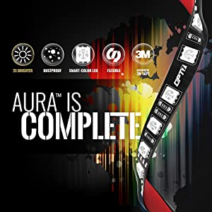 10pc Aura Motorcycle LED Light Kit | Multi-Color Accent Glow Neon Strips w/Switch for Cruisers (Color: Without SoundSync, Tamaño: Universal Fit-Cruiser (10 Strips))