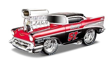 Maisto - 2043067 - Maquette De Voiture - Chevrolet Bel Air '57 - Rouge/noir - Echelle 1/24