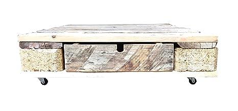 Beistelltisch aus Paletten - mit einer Schublade (mit Glasplatte, 67 x 80cm)