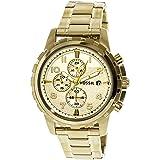 Fossil Men's Dean Quartz Stainless Steel Chronograph Watch, Color: Gold-Tone (Model: FS4867) (Color: Gold tone)