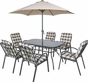 Salon de jardin Table et chaises de salle à manger rembourrées &Parasol