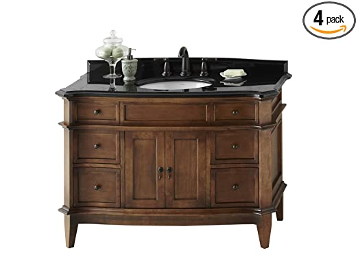 Ronbow 068448-F13_Kit_1 Solerno Bathroom Vanity Set in Cafe Walnut with Absolute Black Bordeaux Granite Countertop/Backsplash & White Oval Ceramic Undermount Sink, 48""