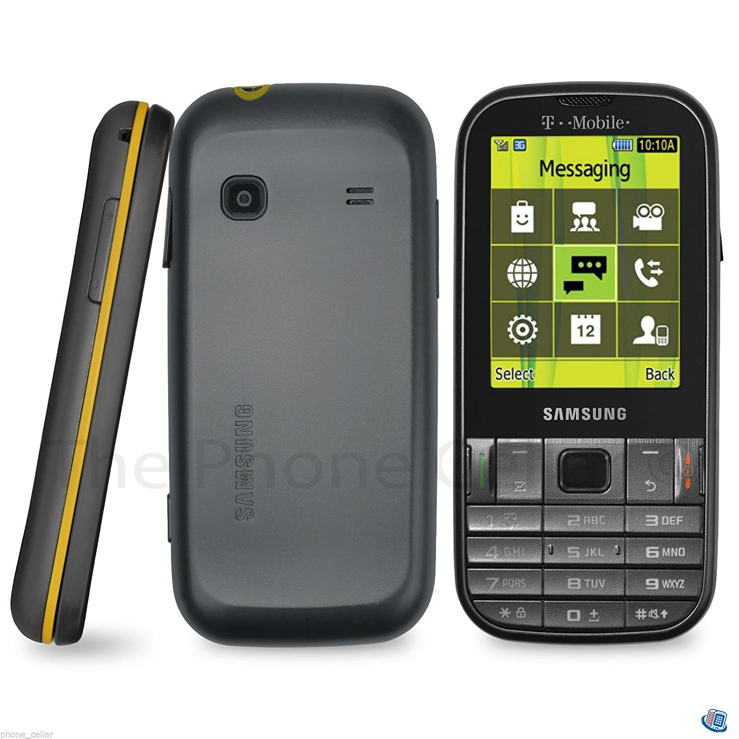 Samsung-T379-Gravity-TXT-Cell-Phone-T-Mobile-Gray-Yellow-No-Contract