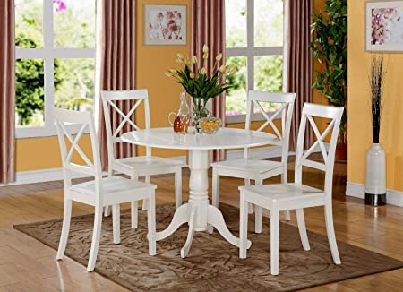 East West Furniture DLBO5-WHI-W 5-Piece Kitchen Table Set, Linen White Finish