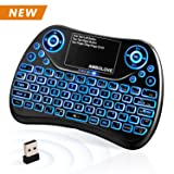 (Latest 2018, Backlit) Wireless Mini Keyboard with Touchpad Mouse and Multimedia Keys, 2.4GHZ Portable USB Rechargable Li-ion Battery Remote Keyboard Support Smart TV,PC,PAD,Android TV Box,PS4,IPTV (Color: BLUE backlit)