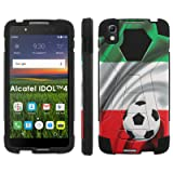 Alcatel One Touch IDOL 4 [Nitro 4/49] Phone Cover, Italy Flag with Soccer Ball - Black Hexo Hybrid Armor Phone Case for Alcatel One Touch IDOL 4 [Nitro 4/49] (Color: Italy Flag with Soccer Ball)