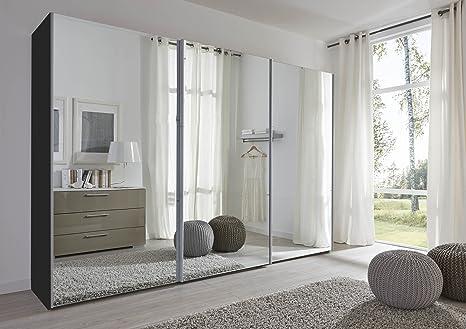 Schlafzimmer Komet Black: Mirror Sliding Door Wardrobe - 301cm Wide - German Made Bedroom Furniture