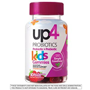 up4 Kids Probiotic Gummies | Digestive and Immune Support | Gelatin-free, Vegan, Non-GMO | With prebiotic and vitamin C | For ages 3+ | 30 count (Tamaño: Kids Gummies, 30 count)