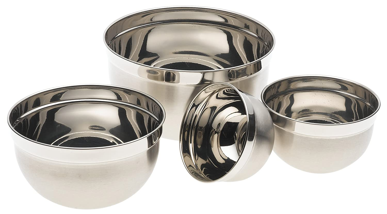 stainless steel euro mixing bowl set 4 nested deep kitchen bowls cookware set ebay. Black Bedroom Furniture Sets. Home Design Ideas