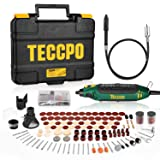 Rotary Tool TECCPO Professional 135W, 10000-35000RPM,6 Variable Speed with Flex shaft,Sharpening Guide,Cutting Guide,Auxiliary Handle,114 Accessories Ideal for Crafting Project and DIY (Color: Green, Tamaño: Corded Rotary Tool)