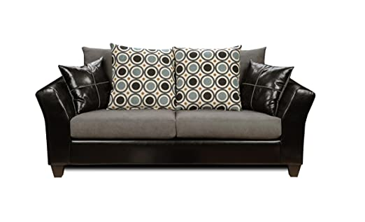 Chelsea Home Furniture Holly Sofa, Upholstered in Denver Black/Flat Suede Graphite/San Francisco Blueberry