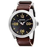 NIXON Men's Corporal Series Analog Quartz Watch / Leather or Canvas Band / 100 M Water Resistant and Solid Stainless Steel Case (Color: Black/Brown, Tamaño: One Size)