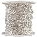 CleverDelights Cable Chain Spool - 30 Feet - Shiny Silver Color - 2x3mm Link - 10 Meters (Color: Silver, Tamaño: 2x3mm)