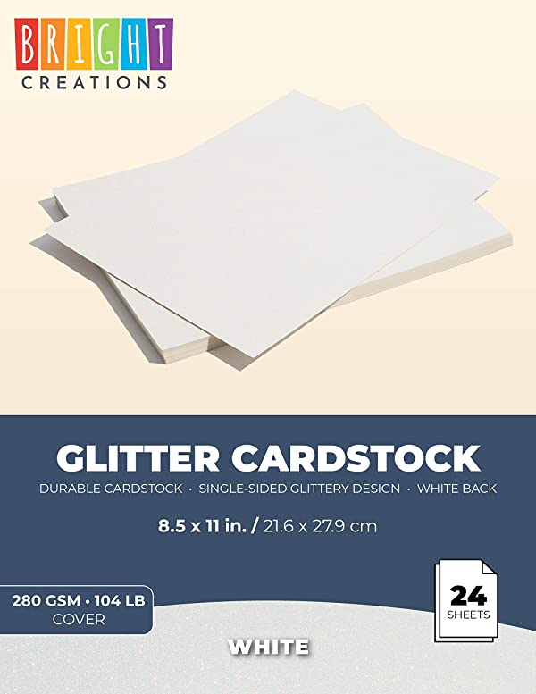 Bright Creations Glitter Cardstock Paper 24 Pack - DIY Glitter Craft Paper White - 11 x 8.5 inches (Color: White)