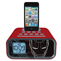 eKids Iron Man Dual Alarm Clock and 30 pin iPod Speaker Dock by iHome - MR-H22