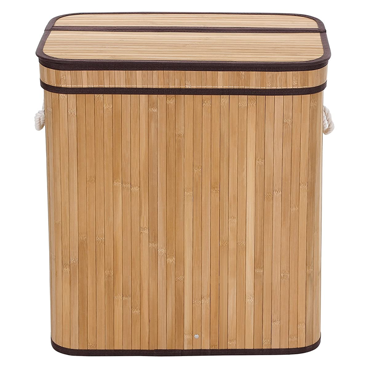 SONGMICS Laundry Hamper Basket Double Clothes Storage Natural Bamboo Color ULCB64Y