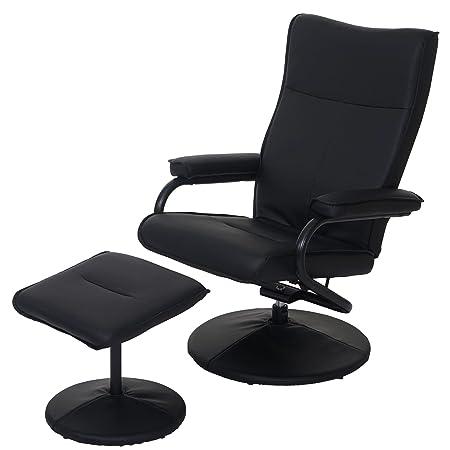 Relaxsessel Leeds, Fernsehsessel Sessel mit Hocker, Kunstleder schwarz