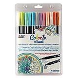 Uchida 12 Piece Colorin Le Plume II Coloring Book Pens, Pastel (Color: Pastel)