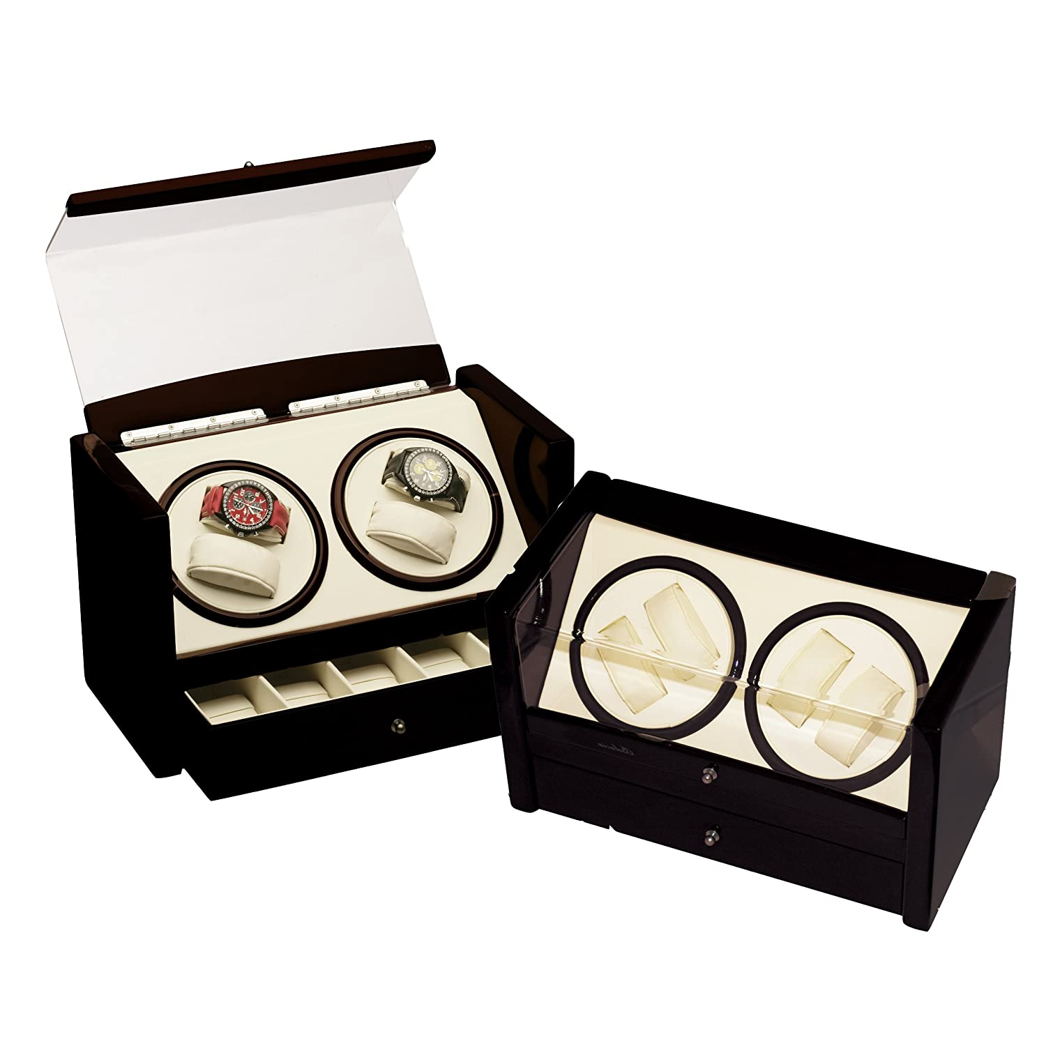 Watch winder cases quad black automatic watch winder box for 4 box auto
