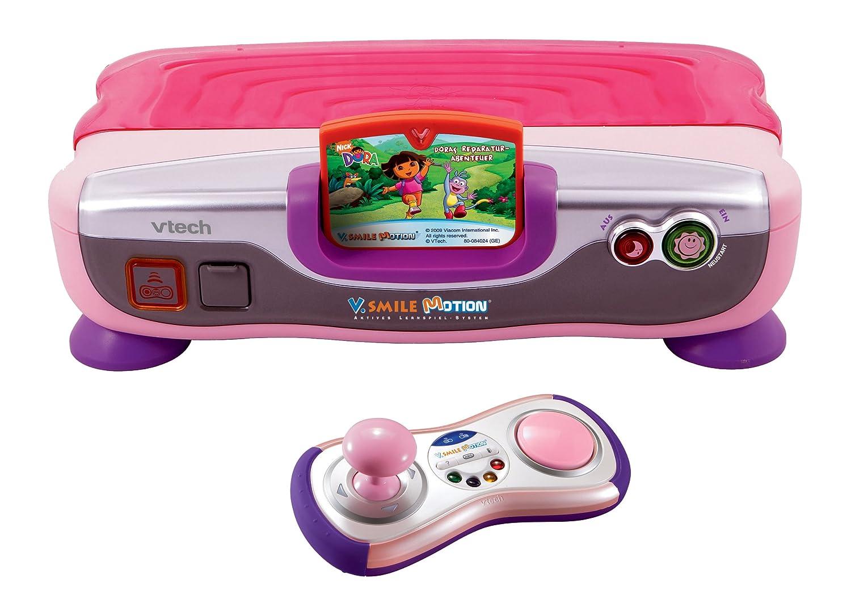 VTech 80-078854 – V.Smile Motion Lernkonsole pink inkl. Lernspiel Dora als Weihnachtsgeschenk