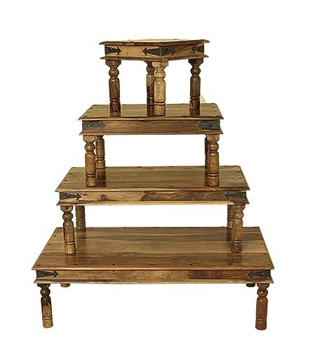 Mesa de centro Jali de madera maciza india - 80 cm x 60 cm