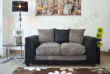 Dylan Byron Black & Grey Fabric Jumbo Cord Sofa Settee Couch 2 Seater