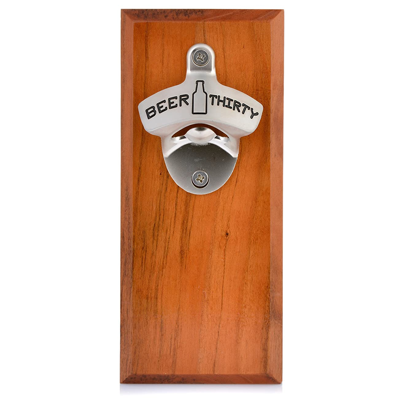 Barware Gear Bottle Opener & Magnetic Cap Catcher. Cherry Wood. (Beer Thirty) 1