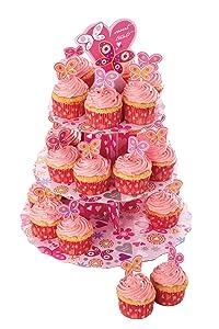 Let&s Make Kitchen Craft - Soporte plegable para cupcakes, diseño de corazones, color rosa   Comentarios y más información