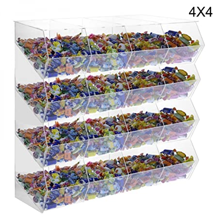 16-Compartment clear acrylic candy bin without door