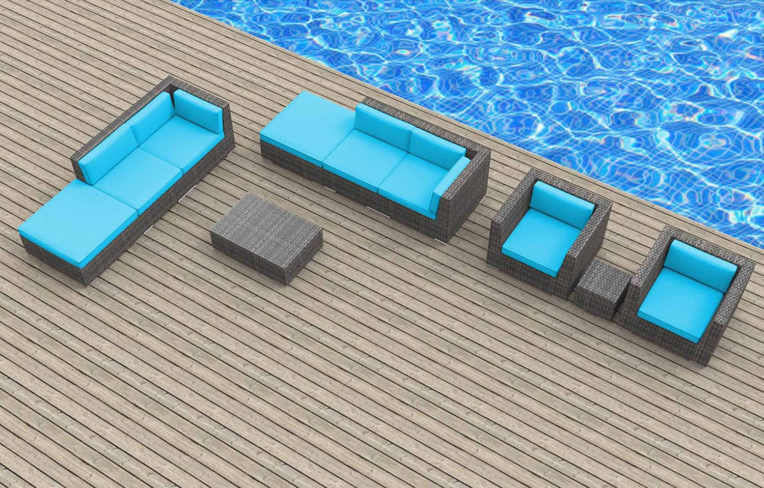 www.urbanfurnishing.net Urban Furnishing - BRUNEI 10pc Modern Outdoor Backyard Wicker Rattan Patio Furniture Sofa Sectional Couch Set - Sea Blue at Sears.com