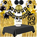 Funnlot Black and Gold Happy New Year 2020 Decorations Black and Gold Party Decorations Black and Gold Party Supplies Including Happy Birthday Banners Black and Gold Balloons Pom Poms Flowers Black and Gold Tablecloth Black and Gold Party Decor(69PCS) (Color: Black and Gold Party Decor)