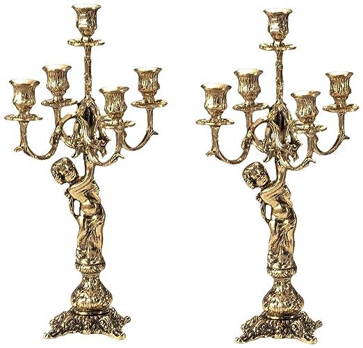 Virtus 4010 - Pareja de candelabros, motivo de ángeles, fabricados en bronce, 43 x 21 cm
