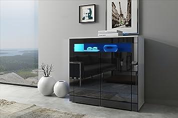 Greta cassettone design bianco opaco et nero lucido. Illuminazione a LED di color azzurro.