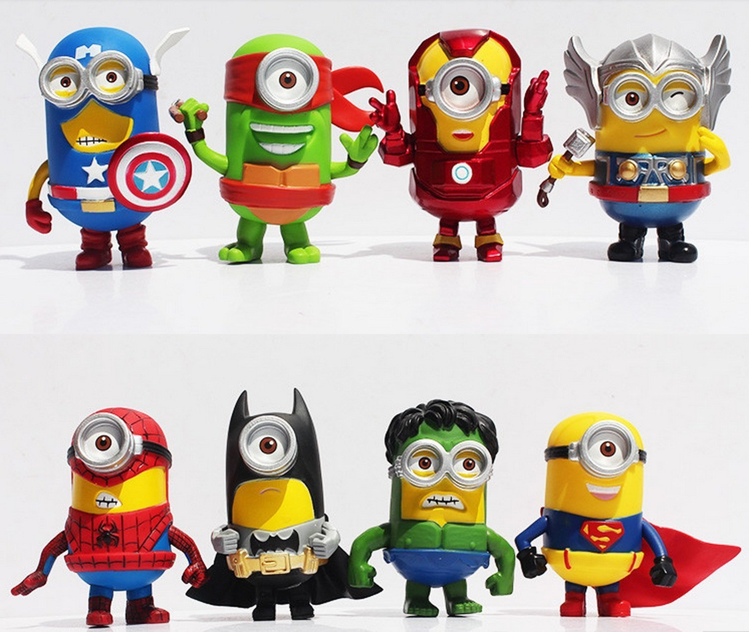 8 Pcs Minions Avengers Cosplay Figure Model Collectible Toy Set