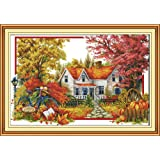 Full Range of Embroidery Starter Kits Stamped Cross Stitch Kits Beginners for DIY Embroidery with 40 Pattern Designs - Autumn House (Color: Autumn house)