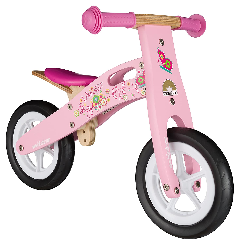 BIKESTAR® Premium Kinderlaufrad für kleine Abenteurer ab 2 Jahren ★ 10er Natur Holz Edition ★ Flamingo Pink günstig bestellen