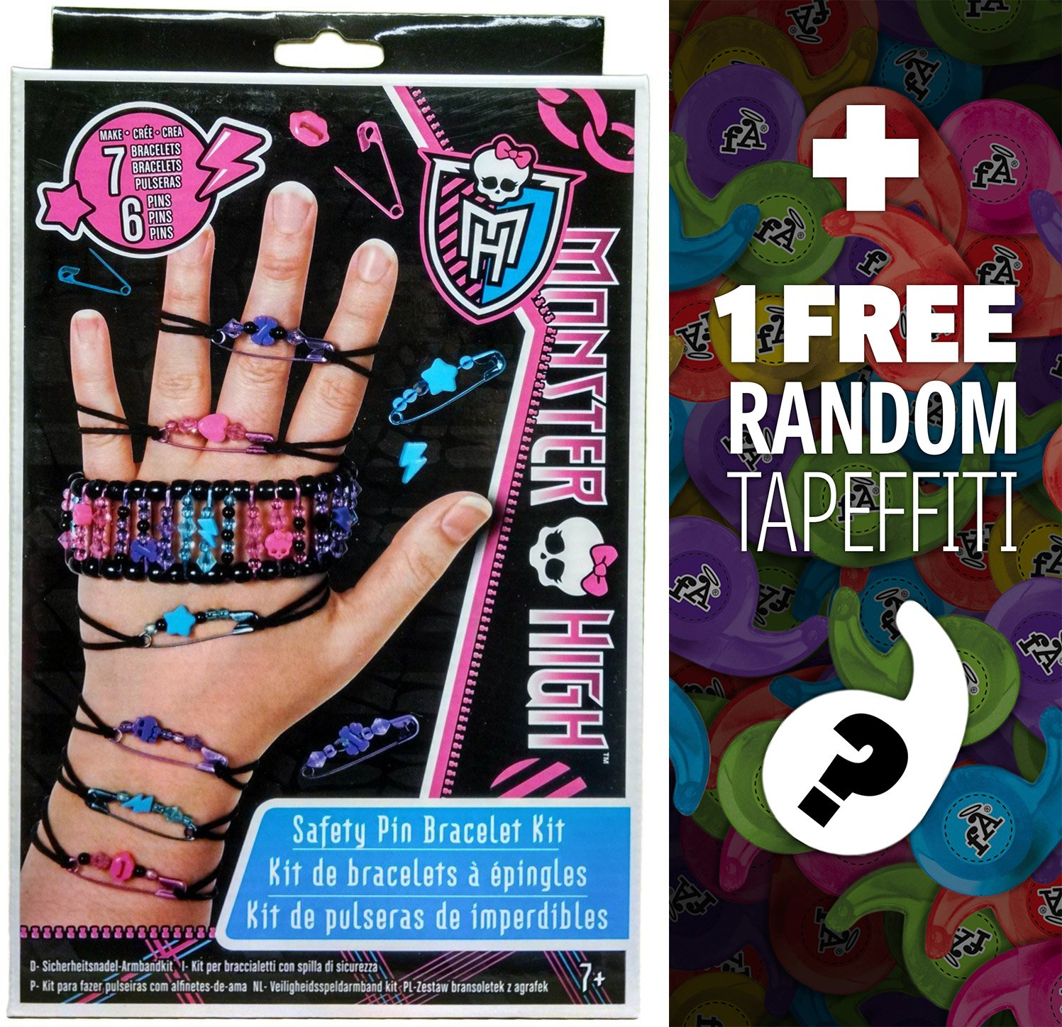 Monster High Safety Pin Bracelet Kit + 1 FREE Mini-Tapeffiti Bundle академия групп косметичка monster high