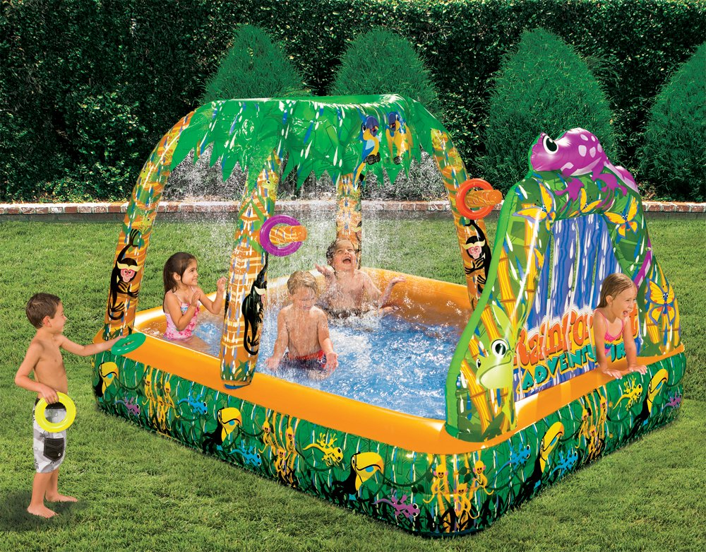 inflatable water swimming pool backyard garden rain forest