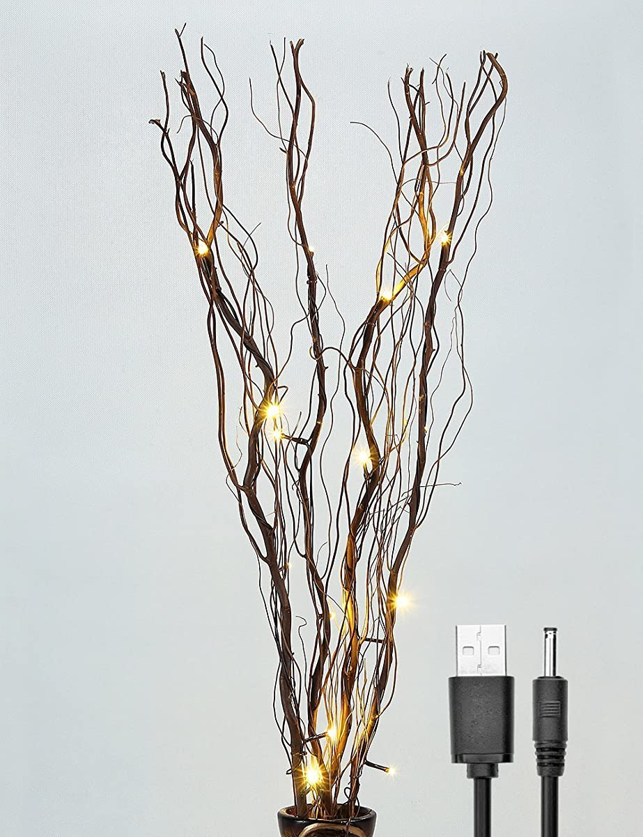 Natural Willow Twig Lighted Branch for Home Decoration, USB Plug-in and Battery Powered