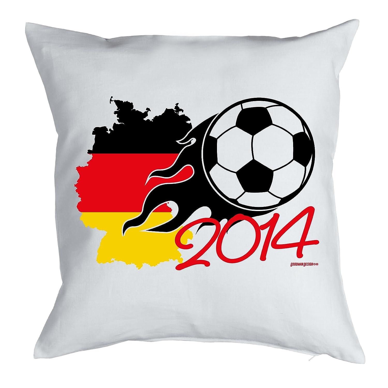 Cooler Fußball Fanartikel / Fussball Kissen : Ball 2014 / Kissen mit Füllung Farbe: weiss jetzt bestellen