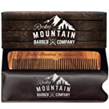 Hair Comb - Wood with Anti-Static & No Snag with Fine and Medium Tooth for Head Hair, Beard, Mustache with Premium Carrying Pouch in Design in Gift Box by Rocky Mountain (Color: Wood)