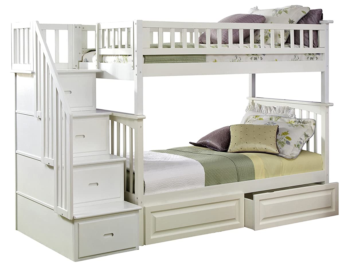 Columbia Staircase Bunk Bed With 2 Raised Panel Bed