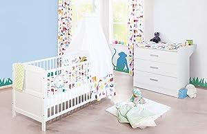 Pinolino Sparset Viktoria breit, 2teilig, Kinderbett (140 x 70 cm) und breite Wickelkommode mit Wickelansatz, weiß (Art.Nr. 090022B)  BabyKundenbewertung und weitere Informationen