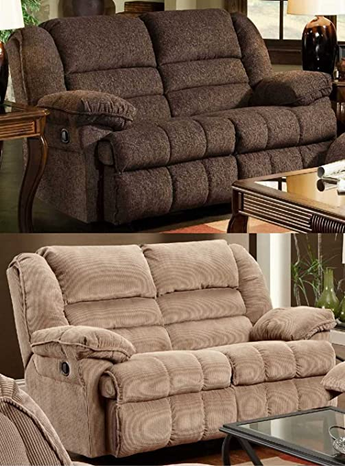 Simmons Upholstery 50410 Champion Double Motion Gliding Loveseat Tan