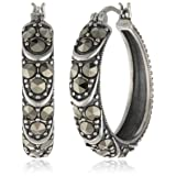 Sterling Silver and Oxidized Marcasite Textured Hoop Earrings
