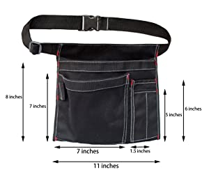 Tool Pouch MDSTOP Single Side Apron with 5 Pockets and 1 Hammer Loop, Fits for Hammer, Pencils, Screwdrivers etc. (Black) (Color: Black, Tamaño: 10 x 11)