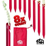TNH Outdoors 8X Aluminum Tri-Beam XL Tent Stakes and Bag - Made for Camping - Support A Start Up