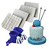 Wocuz Set of 4 Fondant Impression Mat Knitting Sweater & Crochet Texture Embossed Design Silicone Cake Cupcake Decorating Supplies molds (Color: 4 pcs knit)