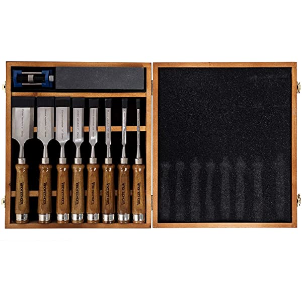 IMOTECHOM 10-Pieces Woodworking Wood Chisel Set with Walnut Handle, Honing Guide, Sharpening Stone, Wooden Storage Case (Color: 12-Pieces Chisel Set, Tamaño: 12-Pieces Chisel Set)