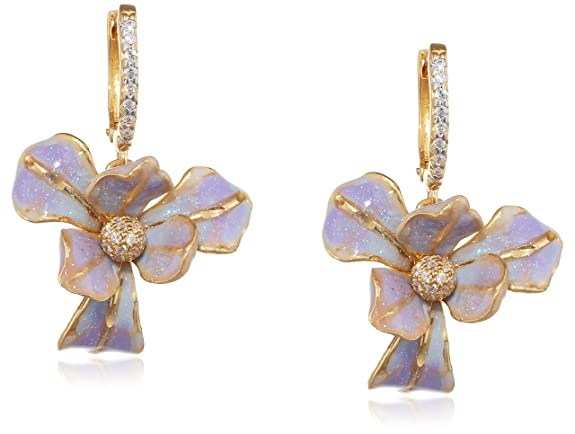 Misis Gemina Women's Earrings 925 Silver Rose Gold Plated Cubic Zirconia (White) 3 CM-Or08885